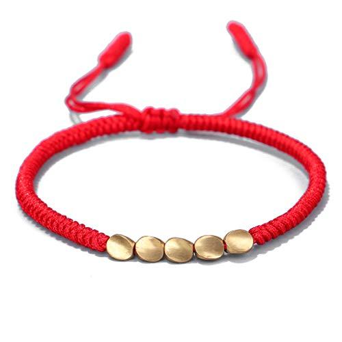 Pulseras de la suerte hechas a mano con cuerda de cobre tibetano, amuleto de la amistad