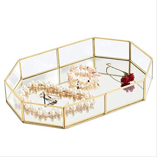 Bandeja decorativa de cristal con espejo para baño, organizador de maquillaje, exhibición de joyas, diseño único (color: dorado, tamaño: 30 x 20 x 5 cm) AA