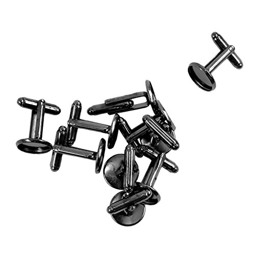 Bonarty 10x Cufflinks Blank Setting Trays Base for Cabochon Cameo Jewelry Cuff Links - Black