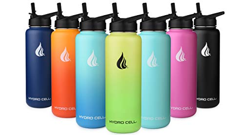 HYDRO CELL Stainless Steel Water Bottle with Straw & Wide Mouth Lids (40oz) - Keeps Liquids Perfectly Hot or Cold with Double Wall Vacuum Insulated Sweat Proof Sport Design (Fuchsia 40oz)