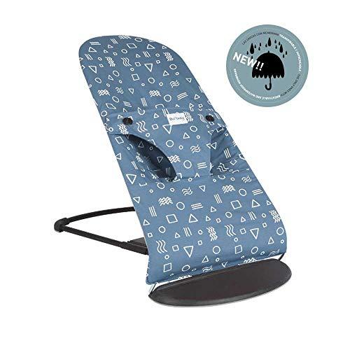 BAOBABS BCN - Funda para Hamaca Babybjörn Impermeable, Transpirable y Muy Cómoda   Funda de Tela para Babybjorn Bliss   Lavado Fácil   Hecha en España   Estampado Blue & White Geometric