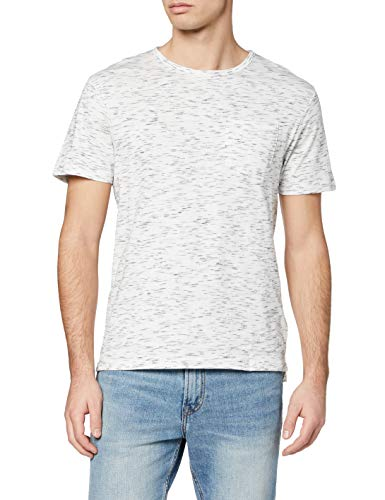 Marca Amazon - find. Camiseta Jaspeada Hombre, Marfil (Off White), L, Label: L