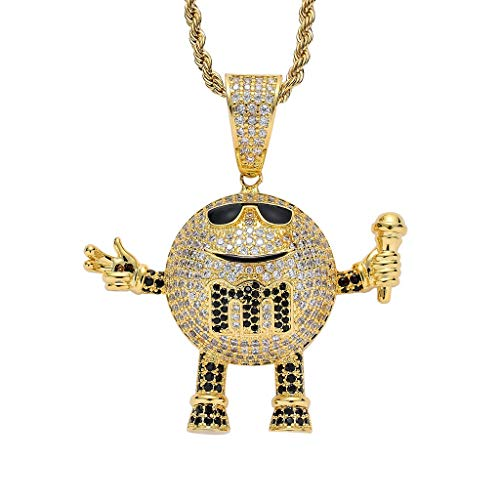 Moca Jewelry Hip Hop Iced Out Rapper Chain Pendent 18K Gold Plated Chain Necklace for Men Women (Gold)