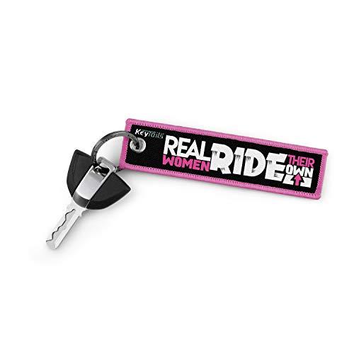 KeyTails Premium-Qualität Motorrad Schlüsselanhänger Schlüsselring Kratzfest Ideal für Ihr Motorrad, Auto [Real Women Ride Their Own]