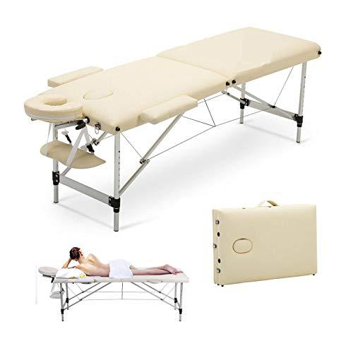 Massagetisch Höhenverstellbar Massageliege Massagebank Mobile Kosmetikliege Klappbar Leicht Tragbar 2 Zone Aluminium-Füßen mit einer Tragetasche (bis 230kg belastbar) -Beige
