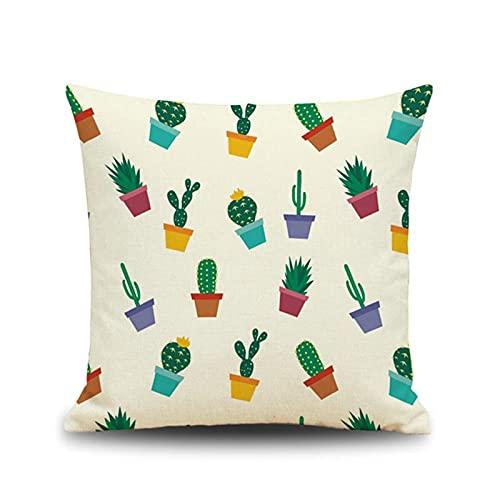 KnBoB Funda de Cojín Decorativa Cuadrado 45x45 cm Hecho de Lino Blanco Verde Maceta de Cactus de Colores - Estilo 4