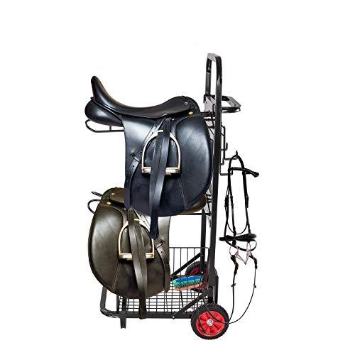 DS Sattelwagen - für 2 Sättel und Zubehör - Stabiles Metallrohrgestell - Gummiräder mit Profil - Klappbar für leichten Transport