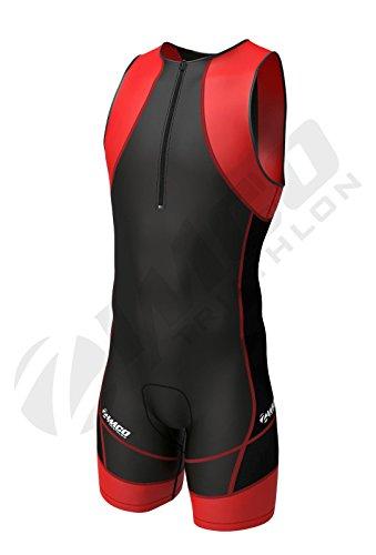 Zimco Compression Triathlon Suit Racing Tri Suit Bib Short Cycling Swim Run (Black/Red, Large)