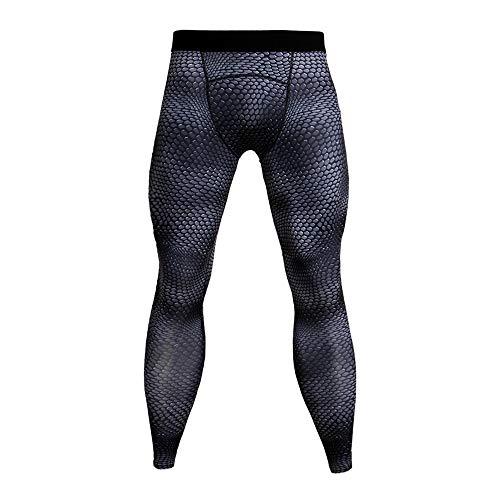 YUNSW Herren Fitnesshose 3D Sport Laufhose Schlanke Kompressionshose Strumpfhose Elastische Strumpfhose Schnelltrocknende Hose