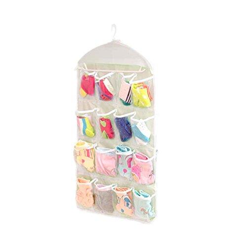Censhaorme 16 Taschen freie hängende Tasche Socken-Tasche, Unterwäsche? Organizer, 16 Taschen BH Unterwäsche Zahnstangen-Aufhänger-Speicher-Organisator