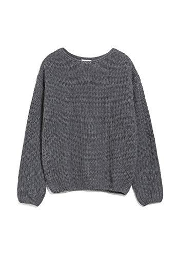 ARMEDANGELS SAADIE - Damen Pullover aus Bio-Woll Mix L Mid Grey Melange Strick Pullover U-Boot Loose fit