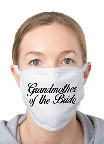 Grandmother of The Bride - Bridal Party Wedding Married 2-Ply Cotton Face Covering (White/White Piping)
