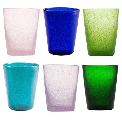 Memento Set 6 Bicchieri da Acqua in Vetro colorato Fantasia Malva
