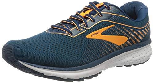Brooks Men's Ghost 12 Road Running Shoes,Poseidon/Grey/Orange, 8.5