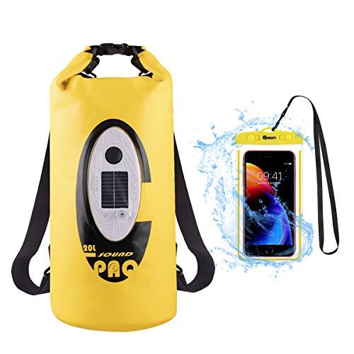 Yenny shjop Sound PAQ - Mochila con Altavoz Bluetooth inalámbrico y batería Solar con Funda Impermeable para Deportes al Aire Libre