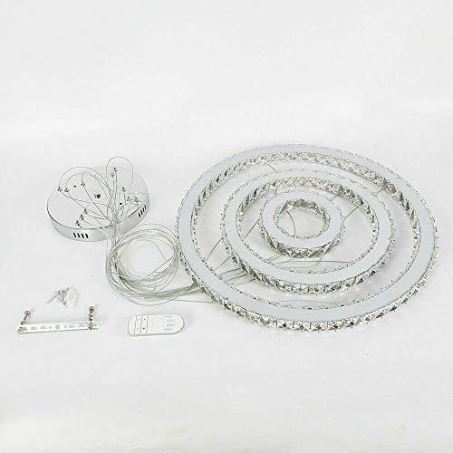 Kristall Hängeleucht, Modern 72W LED Dimmbar Kristall Kronleuchter Deckenlampe Pendelleuchte Hängeleuchte Lüster Deckenleucht 3-Ring Anwendbar Esszimmer
