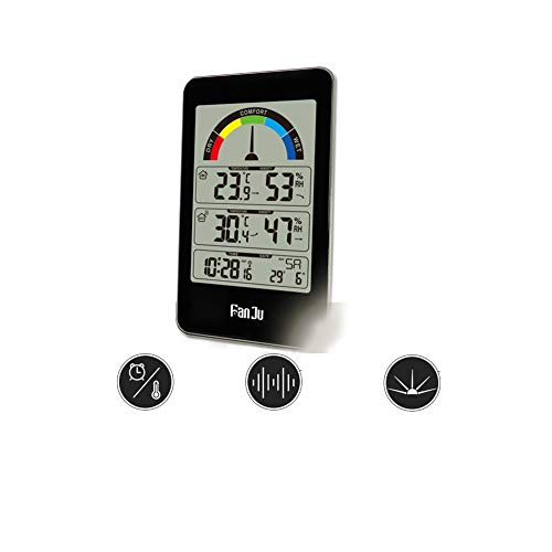LICHUXIN Und kann für Sitzbelegungssensor und Batterie Schlafzimmer Küche drahtlose Übertragung ausgesetzt Werden und Feuchtigkeitsanzeige Uhr Wetter automatische Korrektur Uhr meteorologischer Sein