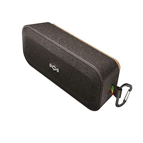 House of Marley No Bounds XL Bluetooth Lautsprecher, wasserdicht, staubdicht & sturzsicher IP67, schwimmfähig, 16 Stunden Akku, Karabiner, Schnellladung, sehr robust, Dual-Pairing, Mikrofon, black