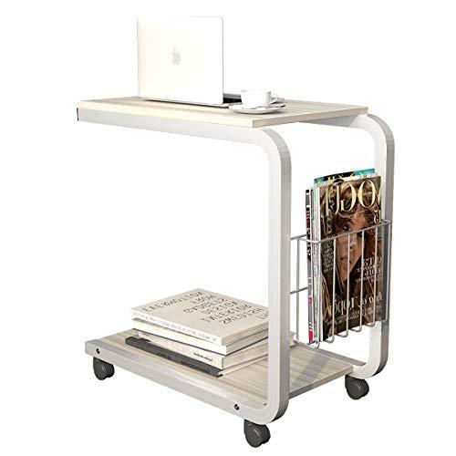 sogesfurniture Portatile Tavolo Laptop con Ruote, Tavolo per PC,Tavolino per caffè,Tavolino da Scrivania, Acero Bianco BHEU-KH02-MP