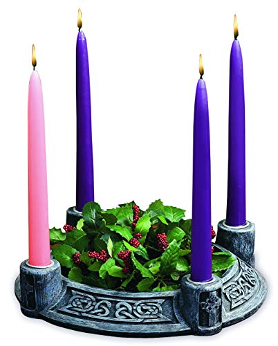 Abbey Gift Celtic Knot Resin Advent Wreath W/Boxed Candle Set, Multi