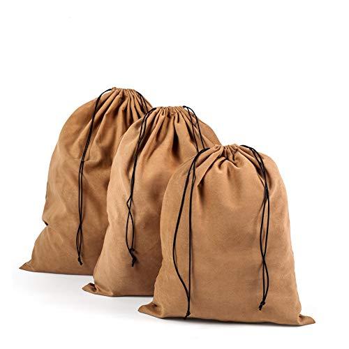 PUMYPOREITY Staubschutzbeutel mit Kordelzug, klein/mittel/groß, Flanell/Wildleder, Aufbewahrungstasche für Handtaschen, Schuhe, Stiefel, Zuhause, Reisen, Outdoor, platzsparend, 3 Stück