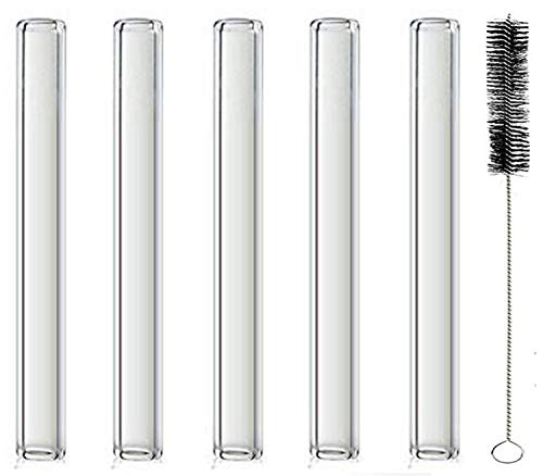 Sigato :Pack Of 5 :Pyrex Clear 4.0'(100mm) Glass Blowing Tubes :Length: 4 Inches : OD-12MM : Wall Thickness :2MM :Thick Wall Borosilicate Glass Tubing Blowing Tubes + 1 Cleaning Brush Free: S-4INX5Pcs