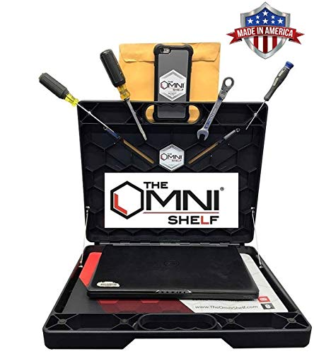 The OmniShelf Computer Workstation - Portable, Laptop Stand, Toolbox, Utility Shelf 40 lb. Capacity Hands Free Workstation Versatile Tool for Numerous Occupations (Magnets & Suction Cups)