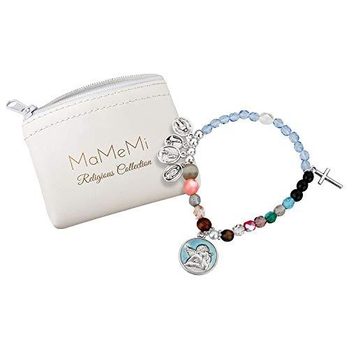 Pulsera vida Marias de cristal perla HL. Virgen María en goma 8,5cm
