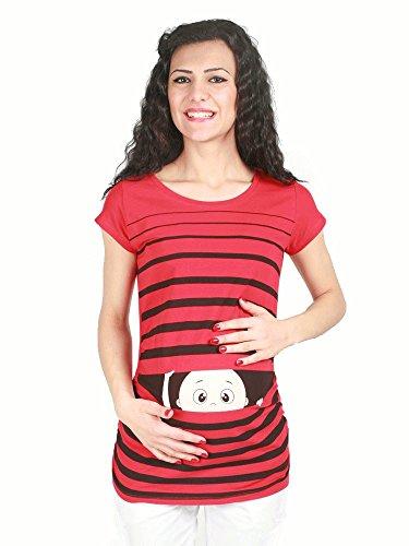Ropa premamá Divertida y Adorable, Camiseta con Estampado, Regalo Durante el Embarazo - Manga Corta (Rojo, x-Large)