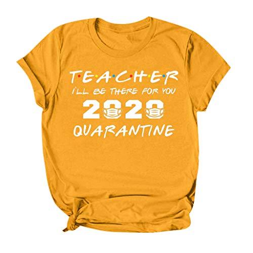 TOFOTL Oberteile Damen, 2020 Die, wo sie unter Quarantäne gestellt wurden Social Distancing T-Shirt Tops Bluse