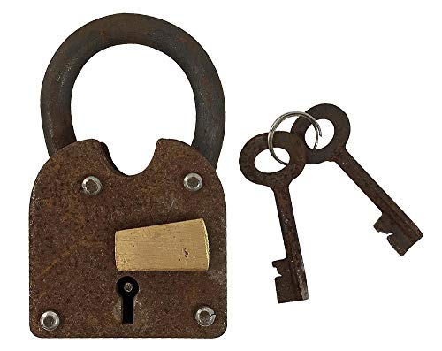 zeitzone Vorhängeschloss Vintage 2 Schlüssel Nostalgie Eisen Antik-Stil Weinkeller