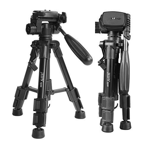 Q100 - Trípode de mesa para cámara de viaje con cabezal de 3 vías de giro y inclinación de 0,63 cm, placa de liberación rápida y bolsa para cámara réflex digital (negro).
