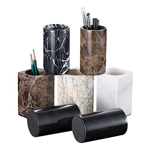 Top All Nature Marble Pencil Holder Cup with Polished Surface, Square Guanxi White