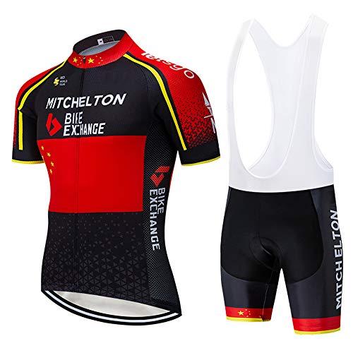 XGFHX ciclismo se adapta a los maillots de ciclismo para hombre, pantalones cortos de ciclismo de manga corta con cojines 3D, utilizados para trotar en bicicletas de montaña