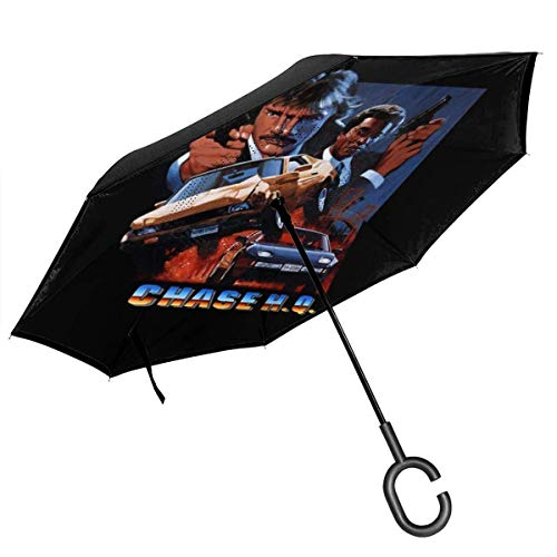 Chase Hq Cover Art Double Layer Inverted Umbrella For Car Reverse Folding Upside Down C-Shaped Hands - Lightweight & Windproof &Ndash