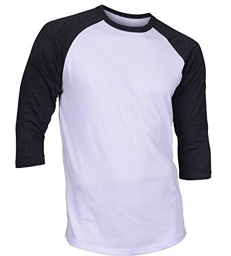 DREAM USA Men's Casual 3/4 Sleeve Baseball Tshirt Raglan Jersey Shirt White/C Gray Small
