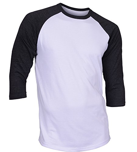 DREAM USA Men's Casual 3/4 Sleeve Baseball Tshirt Raglan Jersey Shirt White/C Gray Small