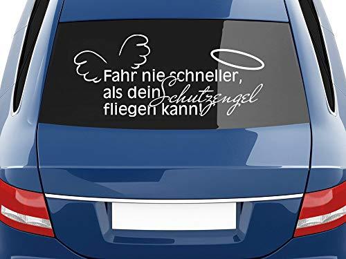 GRAZDesign Autoaufkleber lustig, Fahr nie schneller als Dein Schutzengel fliegen kann, Sprüche Heckscheiben Aufkleber / 70x30cm / 010 weiß