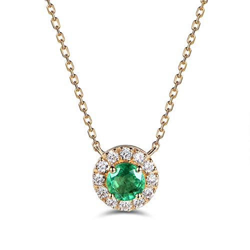 Dreamdge 18K Yellow Gold Necklace Round Gold Necklaces for Women, 0.27ct Green Emerald White Diamond Pendant Necklace