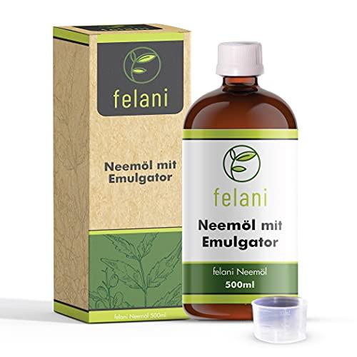 felani® Neemöl 500ml kaltgepresst in Glasflasche mit Dosierkappe - direkt anwendbar mit Emulgator
