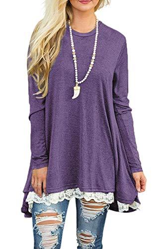 Damen Rundhalsausschnitt Langarm Spitze Swing Casual Hemd Kleider Lange Tunika Blusen Shirts für Leggings -  Violett -  Small