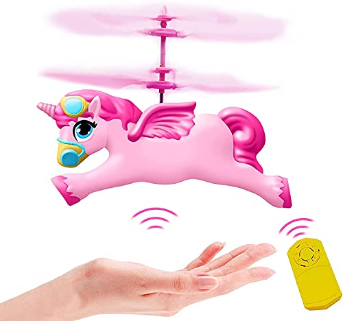 New Flying Fairy Unicorn Helicopter Horse Toys Gifts for Girls Age 6 7 8 9 -14 Year Old, Rc Flying Ball Toys Hand Control Unicorn Drone- Pink