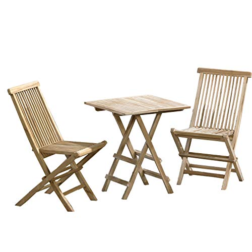 CHICREAT - Conjunto de asientos de jardín de tres piezas de madera de teca, silla plegable y mesa plegable cuadrada de aproximadamente 40 x 60 cm