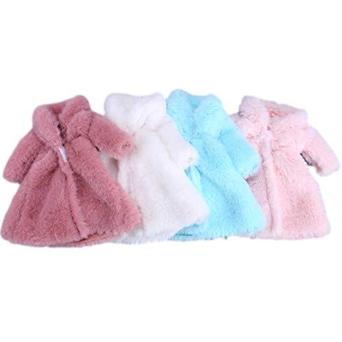 N/Z Juego de accesorios de ropa para muñecas de moda, juego de ropa de invierno, 4 piezas, abrigo suave de piel de manga larga, para muñeca Barbie Girl de 30 cm