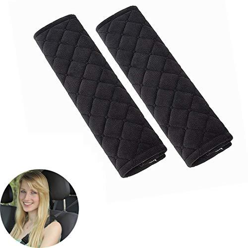 Cojín para cinturón de seguridad, 1 par de, extraíble y lavable, ideal para cinturón de seguridad, mochila, (Black)