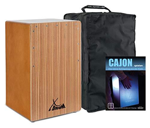 XDrum Cajon El Bajo Bass Port Walnut/Zebra Set (hochwertige Cajon mit Bass POrt, Edelholz-Furnier-Schlagflächen & fest installiertem Snare Teppich inkl. Gigbag & Cajonschule für Einsteiger)