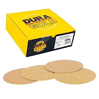 """Dura-Gold - Premium - 80 Grit 6"""" Gold Hook & Loop No Hole Sanding Discs for DA Sanders - Box of 50 Sandpaper Finishing Discs for Automotive and Woodworking"""