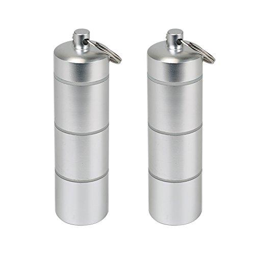Shintop 2 Stück Pillendosen-Schlüsselanhänger aus Wasserdichter Aluminium-Legierung mit 3 Fächern (Silbern)