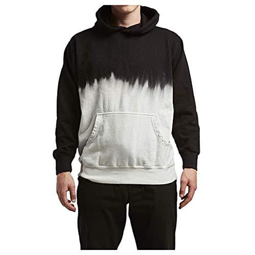 Kapuzenpullover Herren Langarm für Pullover für Herren, Holeider Kapuzen-Sweatshirt Herren Herbst Winter Schwarzweiss-Steigung Hoodie für Männer Casual Streetwear Sportkleidung