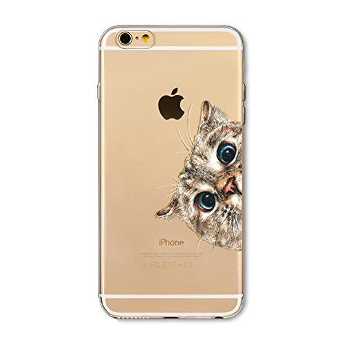 BoomTeck iPhone 8 Cover Silicone, iPhone 7 Cover Trasparente con Disegni Morbido Slim TPU Protettiva Custodia per 4.7' iPhone 8 iPhone 7 Antiurto Sottile Leggero Gomma Pellicola Carino Animali Gatto